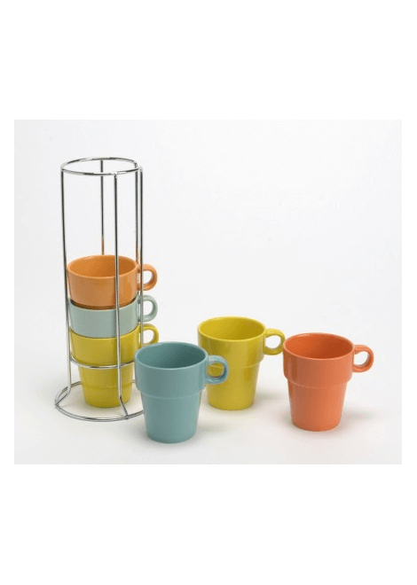 RACK 6 TASSES EXPRESSO COULEUR