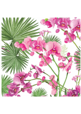 SERVIETTE ORCHIDEE/FEUILLE