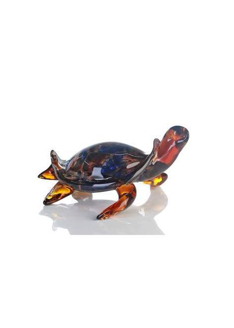 SCULPTURE VERRE TORTUE MARRON/BLEU CASABLANCA