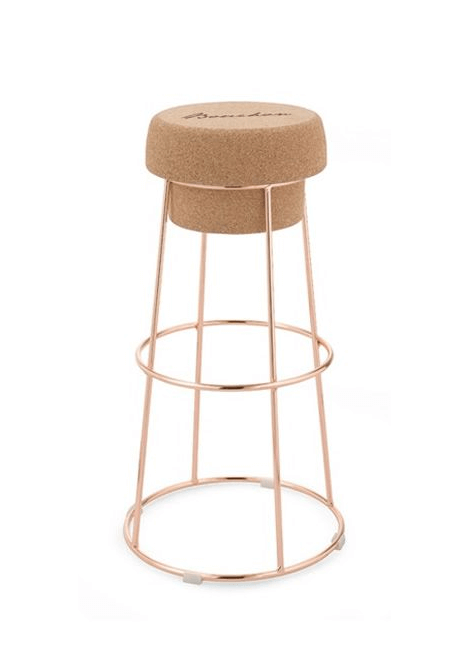 TABOURET BOUCHON LIEGE OR ROSE DOMITALIA