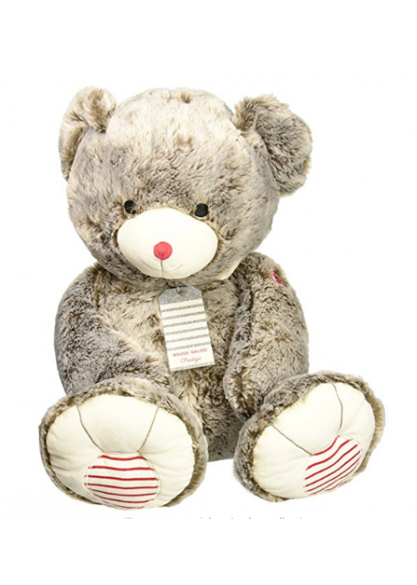 PELUCHE XXL OURS GRIS ROUGE KALOO